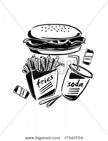 Burger, Fries & Soda - Retro Clip Art