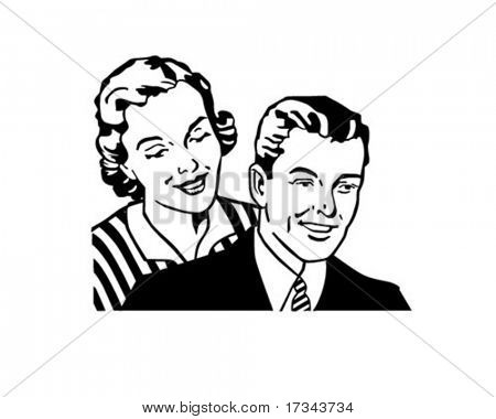 Retro Couple - Clip Art