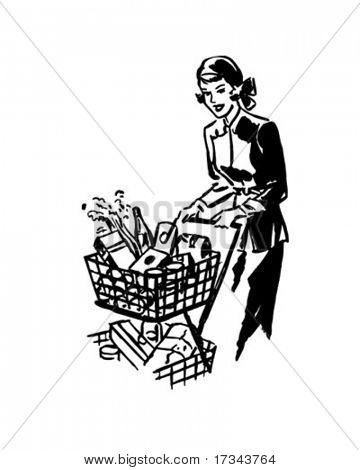 Parcimonioso Shopper - Retro Clip-Art
