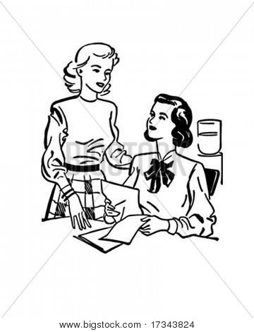 Office Discussion - Retro Clip Art
