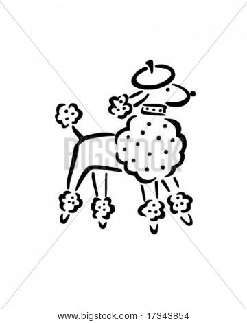 French Poodle - Retro Clip Art