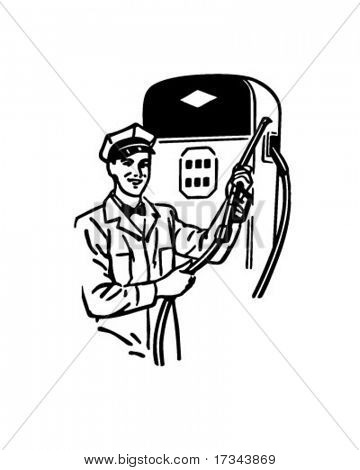 Gas Station Attendant - Retro Clip Art