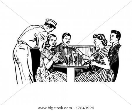 The Gang At The Malt Shop - Retro Clip Art