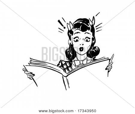 Surpreendeu a mulher leitura - Retro Clip-Art