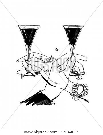 Let's Have A Toast - Two Glasses Of Wine - Retro Clip Art