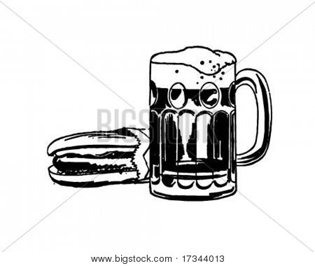 Hot Dog und Root Beer - Retro ClipArt