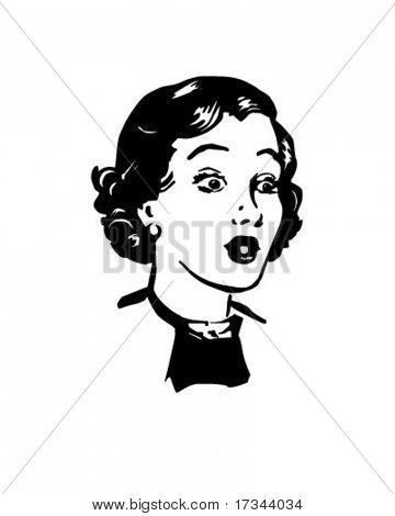 Surprised Woman - Retro Clip Art