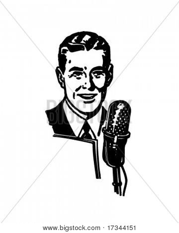 Radio Announcer - Retro Clip Art