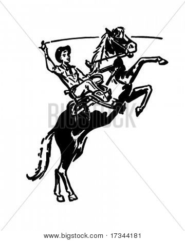 Bucking Bronco - Retro Clip Art
