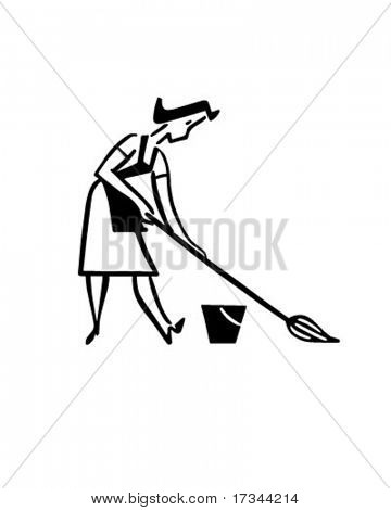 Daily Cleaning - Woman Mopping Floor - Retro Clip Art