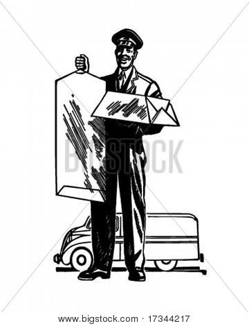Delivery Man - Retro Clip Art