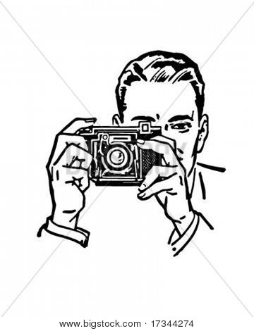 Man With Camera - Retro Clip Art