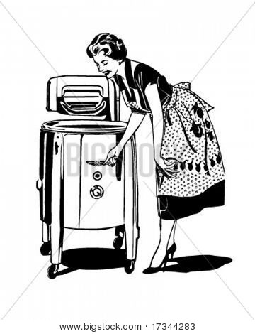 Mom Does The Washing - Retro Clip Art