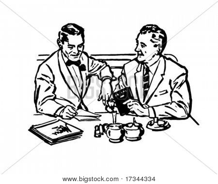 Business Lunch - Retro Clip Art