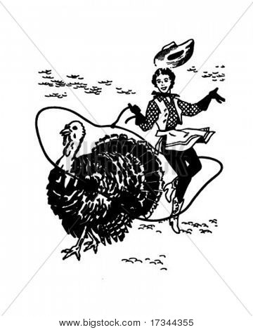 Cowgirl Lassoing Turkey - Retro Clip Art
