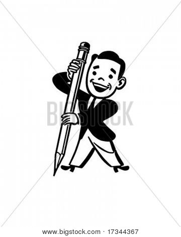 Man Holding Big Pencil - Retro Clip Art