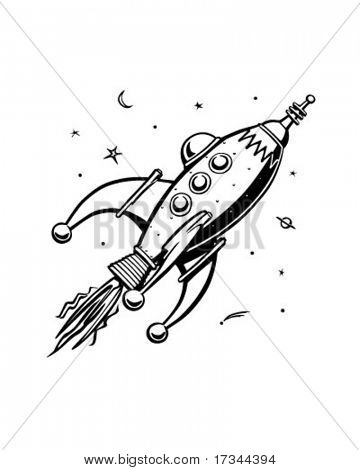 Rocketship retro - Clip Art