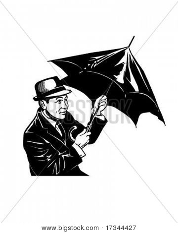 Man With Umbrella - Retro Clip Art