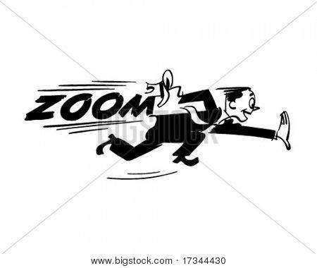 Zoom - Man Running Very Fast - Retro Clip Art