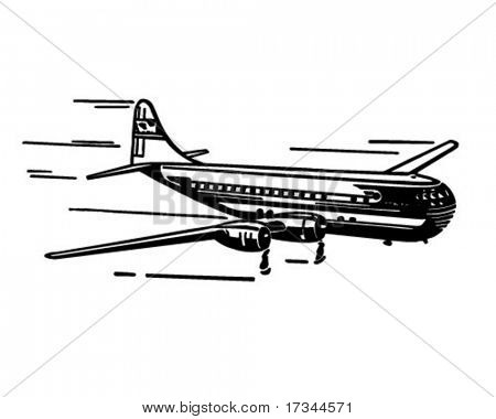 Modern Airplane - Retro Clip Art