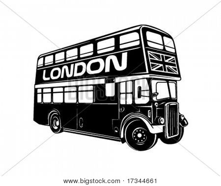 Double Decker Bus - Retro Clip Art