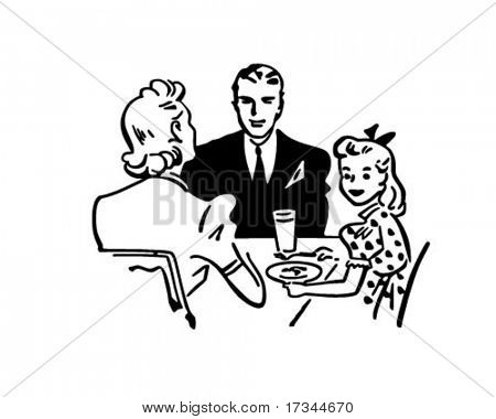 Family Dinner - Retro Clip Art