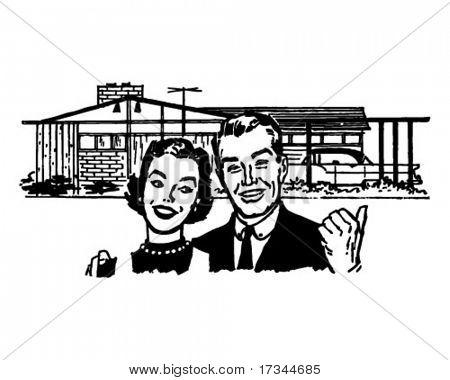 Happy Homeowners - Retro Clip Art
