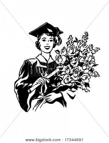 Flowers, A Joyous Gift - Female Grad - Retro Clip Art