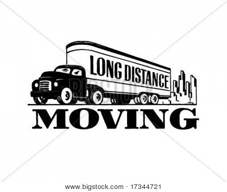 Long Distance Moving - Retro Clip Art