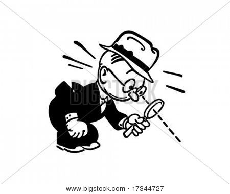 Man With Magnifying Glass - Retro Clip Art