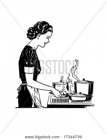 Retro Lady Cooking - Retro Clip Art