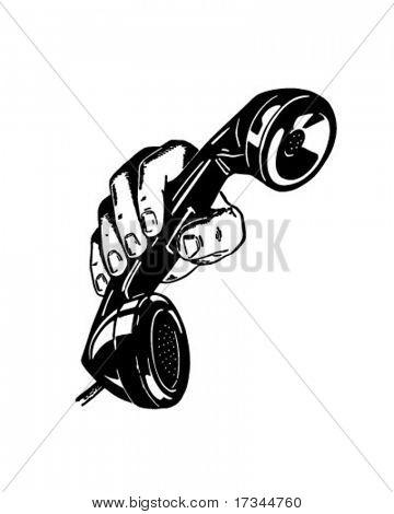Phone In Hand - Retro Clip Art