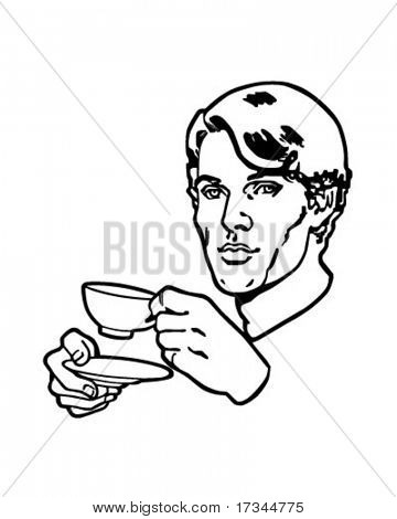 Tea Drinker - Retro Clip Art