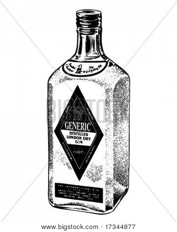Bottle Of Distilled Gin - Retro Clip Art