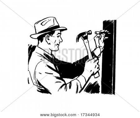 Man Hammering Nail - Retro Clip Art