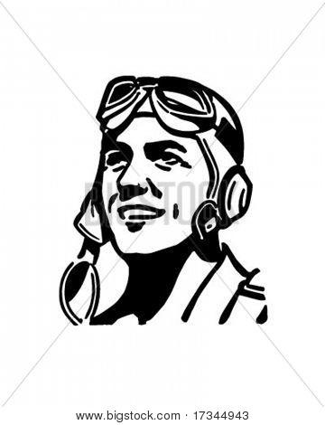 Pilot mit Aviator Helm - Retro ClipArt