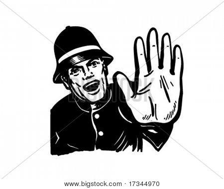 警察喊停-复古剪贴画