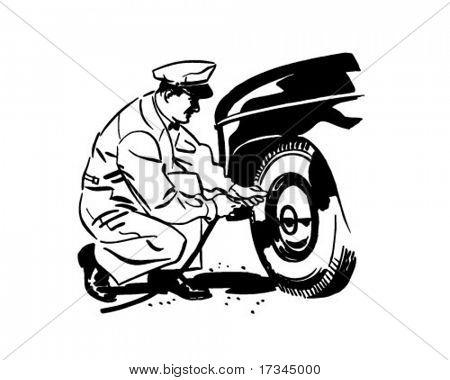 轮胎压力-复古剪贴画