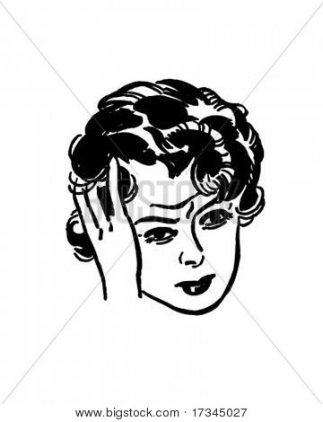 Woman With Headache - Retro Clip Art