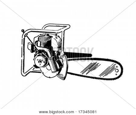 Chain Saw - Retro Clip Art