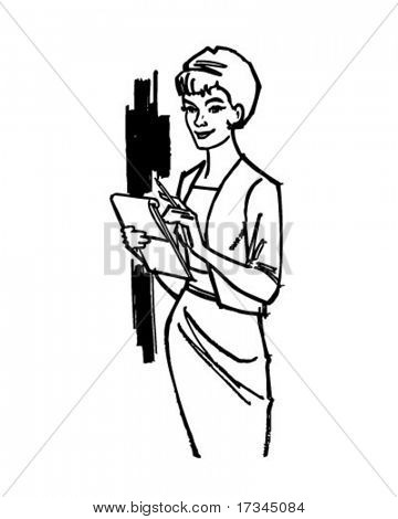 Business Woman - Retro Clip Art