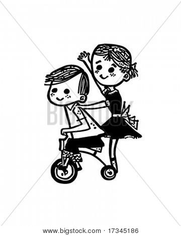 Kids On A Tricycle - Retro Clip Art