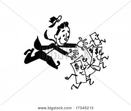 Man Chasing Money - Retro Clip Art