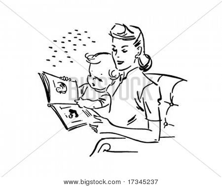 Mother Reading To Baby - Retro Clip Art