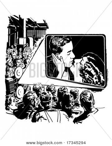 Crowd Watching A Movie - Retro Clip Art