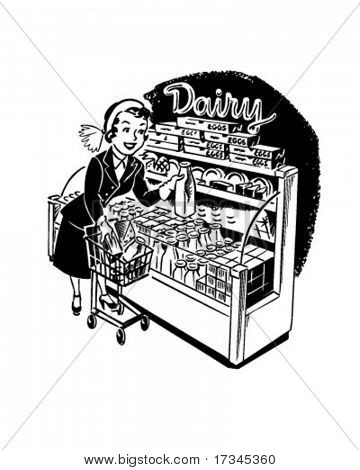 Woman Shopper At Dairy - Retro Clip Art