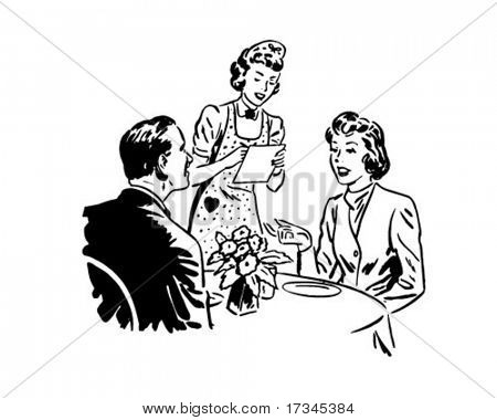 Waitress Taking Order - Retro Clip Art