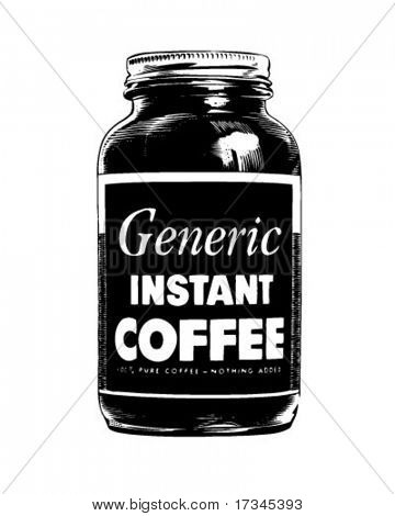 Jar Of Instant Coffee - Retro Clip Art