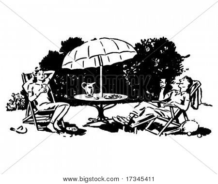 Backyard Lounging - Retro Clip Art