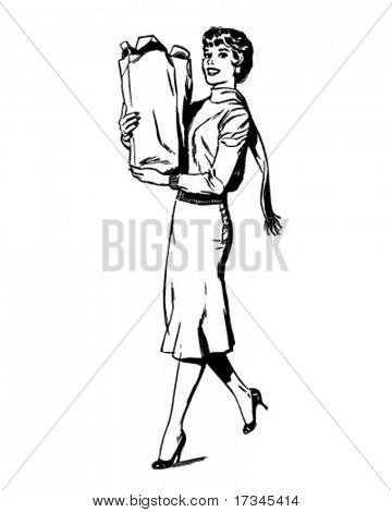 Woman Shopping - Retro Clip Art